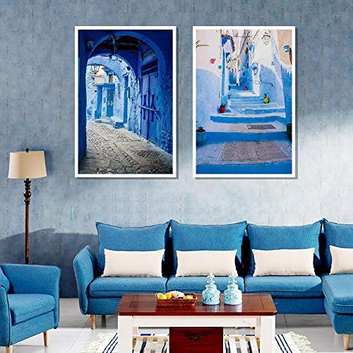 Pôster e impressões de viagem decoração de arte azul da cidade antiga, pintura em tela, decoração de casa, 50 x 72 x 2 sem moldura