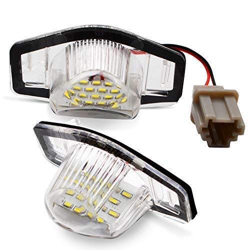LncBoc 2pcs Car License Plate Light 3W 12V 18SMD-3014 LED White Rear License Tag Lights Rear Number Plate Lamp Direct Replacement,1 Year Warranty