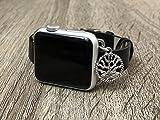 Simeon D Negro Piel Vegana Banda para Apple Reloj Serie 12& 3, Hecha a Mano de tamaño Ajustable Pulsera de Plata árbol de la Vida Elegante Apple Watch Pulsera de joyería, marrón, 42 mm