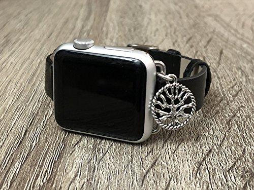 Lujo Negro Piel vegana banda para Apple reloj serie 12& 3, hecha a mano de tamaño ajustable pulsera de plata árbol de la vida elegante Apple Watch Pulsera de joyería, marrón, 38 mm