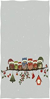 REFFW for Home Bathroom Hotel Gym Spa Soft Large Highly Absorbent Cute Christmas Owls Branch Ornament Snowflake Decorative Multipurpose Guest Bath Towels Hand
