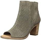 TOMS Women's Majorca Peep Toe Fashion Boot, Tarmac Olive Diamond Perforated Suede Mix, 12 Medium US