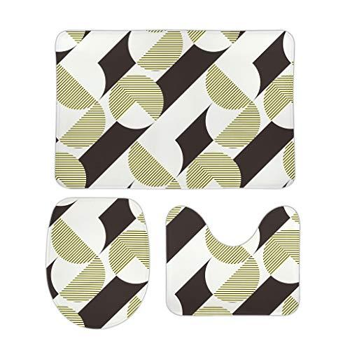 Lind88 3 stks Badkamer Accessoires Patroon Etnisch Patroon Multisize U-Shaped Contour Tapijt Mat/Wasruimte Mat/Seat Deksel Cover Niet-slip Ontwerp - Dier voor Nieuwjaar Decoratie