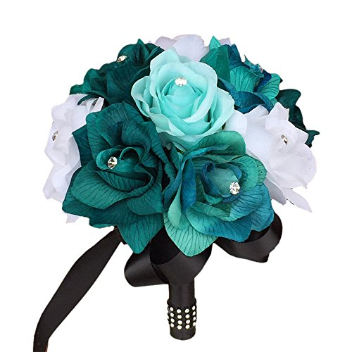 "8"" Bouquet-teal,aqua,black Artificial Roses with Rhinestone"