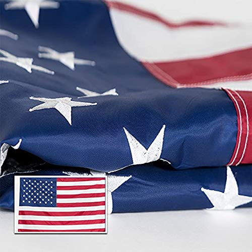 American Flag 3x5' Embroidered Stars and Sewn Stripes | 210D Oxford Nylon | Quadruple Stitched Fly End | Brass Grommets for Easy Display | Heavy Duty U.S. Flag