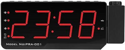 LasVogos Radio Despertador Digital Proyección Pantalla LED Tabla Pared Pared Radio FM Reloj