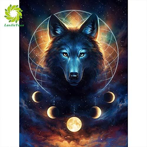 XCJX 30 * 40cm Frameless 5D Diamond Painting Diamond Painting Animal Diamond Embroidery Rhinestone Picture Diamond Mosaic Moon Wolf