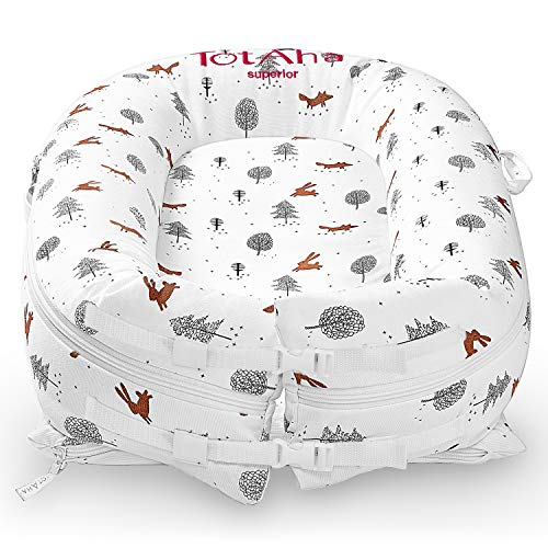 Newborn Baby Nest, TotAha Superior Dock for A Tot, Organic Cotton Baby Lounger for Co-Sleeping, Secure Comfort Portable Baby Sleeper Bed Bassinet, Newborn Essentials Must-Have for 0-12 Month -Woodland