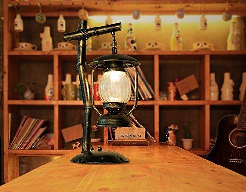 Modeen 53 cm Lampe de chevet Lampe Atmosphère Étudier Lampe de Bureau Lampe de Table en Fer Forgé Vintage Abat-jour en Verre Salon Chambre Lampe de Bureau