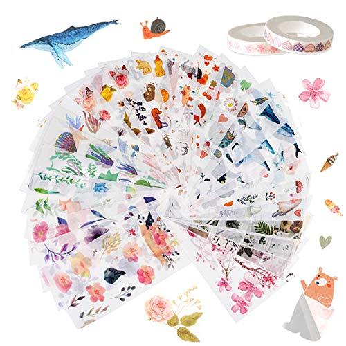 LATTCURE 30 Blätter Scrapbooking Sticker mit 2 Rollen Washi Tape, Mädchen Selbstklebend Aufkleber Kinder Deko Papier Stickerbögen Vintage für Stickerbuch Tagebuch Fotoalbum Notizbuch Kalender