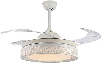 QUKAU Modern Chandelier Invisible Fan Light 42 inch Remote Control Fan lamp LED dimmable Light nest Restaurant Ceiling Fan Light Pendant Lighting (White)