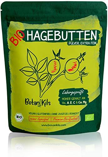 Bio Hagebuttenpulver 500g, Premium selektierte Hagebutten, Natürliche Vit. A, E, C und Ca, Mg - Hochdosiert und Laborgepüft - 100% reines Superfood - vegan, glutenfrei - BotaniKils