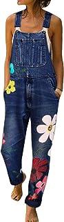 Mujer Pierna Ancha Patrón de Flores Monos Vaqueros de Monos de Gran tamaño Pantalones con Tirante Denim Recto Delgado Casu...
