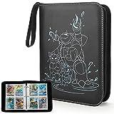 Yinke Bolsa para cartas coleccionables de Pokemon GX EX – Archivador de tarjetas para hasta 400 tarjetas, bolsa de viaje, funda protectora (negro)