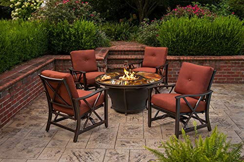 Best Review Of CC Outdoor Living 5-Piece Round Glass Top Gas Fire Pit Set w/Red Patio Rocking Chairs