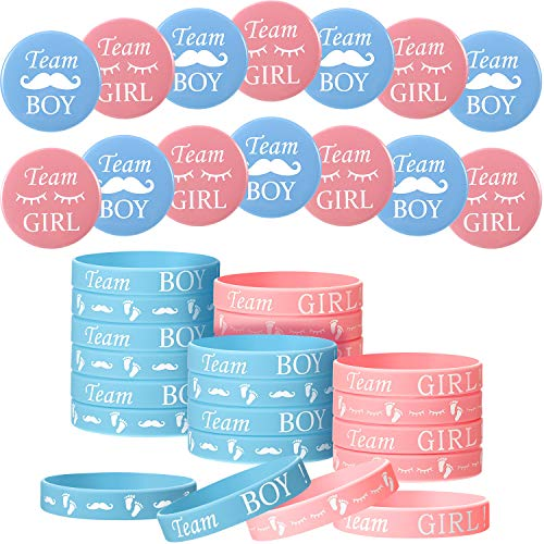 48 Pieces Gender Reveal Set, Includes 24 Pieces Gender Reveal Button Pins 24 Pieces Gender Reveal Bracelets Team Boy Girl Button Pins Wristbands for Baby Shower Party Gender Reveal Party Supplies