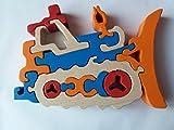 Holzpuzzle Bulldozer handgemachte Maschinenkonstruktionen Spielzeug Nutzfahrzeug Geschenk für Jungen aus Holz Auto Träger massives Buchenholz Spielzeug