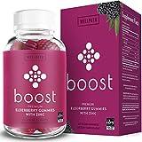 Boost Premium Elderberry Gummies with Zinc (60ct) | Zinc & Vitamin C Elderberry Gummies for Adults | Non-GMO, Vegan Sambucus Black Elderberry Gummy Vitamins