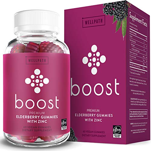 Boost Premium Elderberry Gummies with Zinc (60ct)   Zinc & Vitamin C Elderberry Gummies for Adults   Non-GMO, Vegan Sambucus Black Elderberry Gummy Vitamins