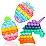 Fescuty Pop On It Fidget Toys Pack 3 Pack Push Pop Bubble Sensory ADHD Autism Learning Materials Toys for Anxiety & Stress Relief Squeeze Toy for Toddlers Teens Adults Older (3 Pack Rainbow)
