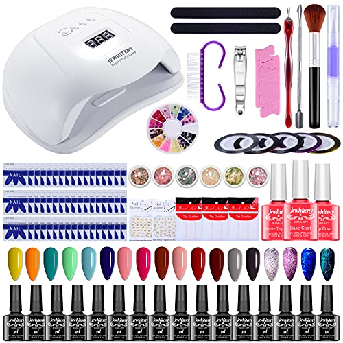 Gel Nail Polish Kit with UV Light, 120W UV LED Nail Dryer Lamp 18 Colors Popular Soak Off Gel Nail Polish Set DIY Gel Manicure Starter Tools, Integrated Manicure Kit for Home and Salon Use