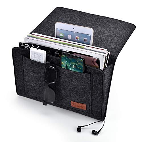 workbees Betttasche, Sofa Organizer | Dicke Filz Anti-Rutsch Nachttisch Tasche für Buch, Zeitschriften, iPad, Handy, Fernbedienung (Schwarz)