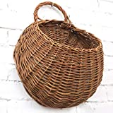 MOTINA Handmade Woven Hanging Basket Natural Wicker Haning Storage Basket for Home Garden Wedding Wall Decorations