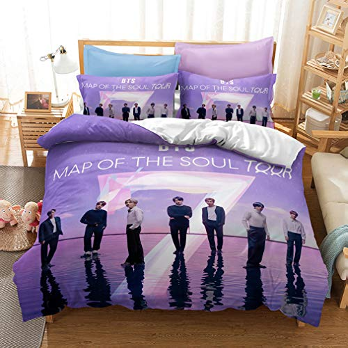 ZXX. BTS 3 Piece Print Bedding Set in a Bag Complete Set with Pillowcase Microfiber Soft Comfortable and Breathable for Teenagers BTS Fans