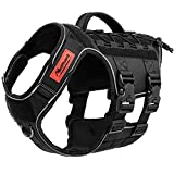 Manificent Tactical Dog Harness Full Body for Extra Large Dogs, Reflective No Pull Service Dog Vest with Handle American Flag Patch, Military Dog Vest - for Training Hiking Hunting Working Harness