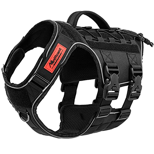 Manificent Tactical Dog Harness Full Body for Large Dogs, No Pull Service Dog Vest with Handle American Flag Patch, Military K9 Dog Vest - for Training Hiking Hunting Working Harness