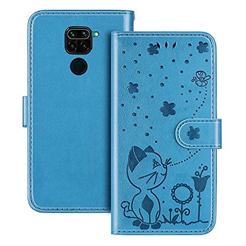 The Grafu Hülle für Xiaomi Redmi Note 9 / Redmi 10X 4G, PU Leder Stoßfest Klapphülle Handyhülle für Xiaomi Redmi Note 9 / Redmi 10X 4G, Brieftasche Schutzhülle mit Kartenfach, Blau