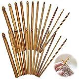 Agujas Crochet de Bambú Agujas de Ganchillo Tejer Ganchos Conjuntos Kit...