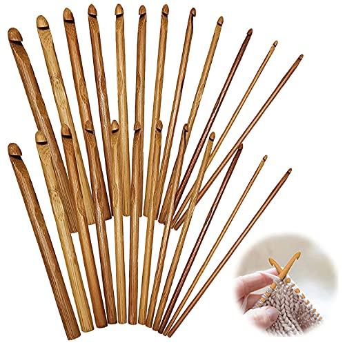 Agujas Crochet de Bambú Agujas de Ganchillo Tejer Ganchos Conjuntos Kit Adecuado Para Principiantes para Hacer Bufandas Mantas Zapatos de Bebé Manteles Y Cortinas (3 mm-10 mm 24 Piezas)