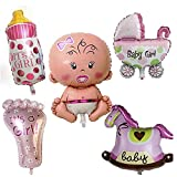 5 Piezas Baby Girl Globo De Helio, Globo Helio Bebé, Baby Shower Globos,...
