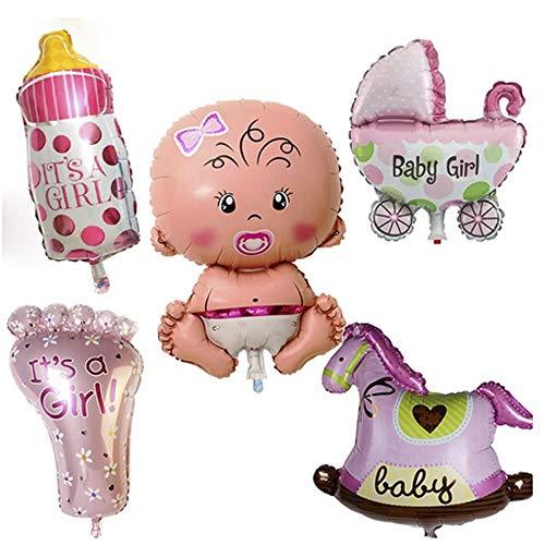 5 Piezas Baby Girl Globo De Helio, Globo Helio Bebé, Baby Shower Globos, Babyshower Its a Girl Baby Party Party and Decoration(Rosa)