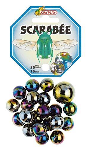 Kim'Play- Lot de 20+1 Billes, Scarabee, 500833
