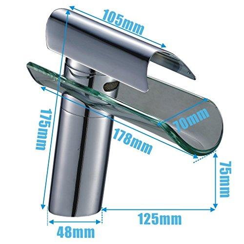 SAILUN Wasserfall Armatur Wasserhahn Glas Spüle Waschbeckenarmatur für Bad Waschtischarmatur Badarmatur Badezimmer Küchen (B Type) - 2