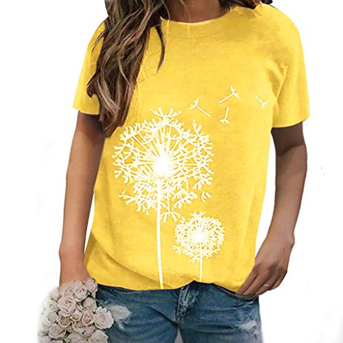 PPangUDing T-Shirt Damen Sommer Pusteblume Bedrucktes Kurzarm Lose Beiläufig Rundhals Tops Oberteile Bluse Tunika Tops Hemd Tops