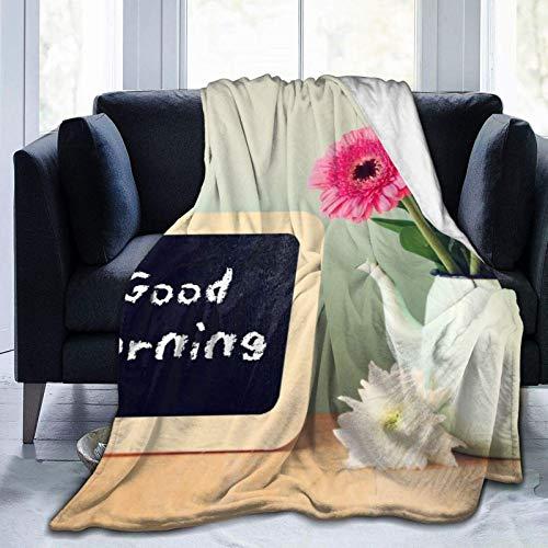 KKLDOGS Manta de microfibra con la frase Good Morning escrita en ella junto a flores frescas, para sala de estar, dormitorio, sofá cama, colcha de franela
