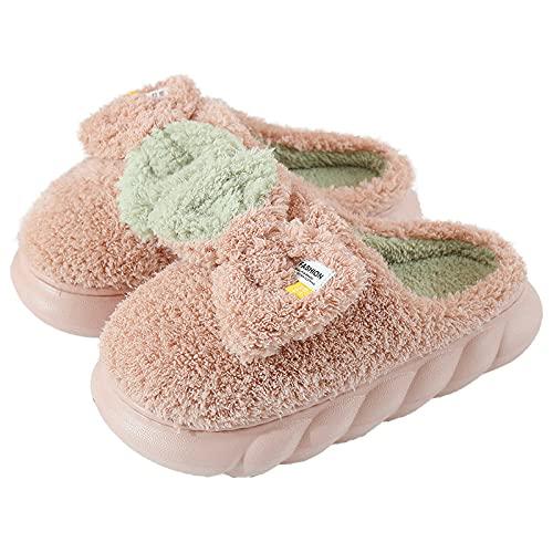 Zapatillas De Casa,Zapatillas para Mujer Invierno Parte Inferior Gruesa Trenzada Rosa Rizado Felpa Costura Arco Icono Cierre Suave Piso Cálido Zapatilla Zapatillas Esponjosas De Espuma Viscoel