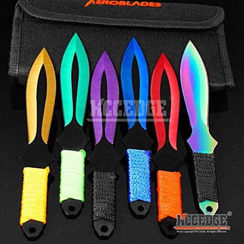 KCCEDGE BEST CUTLERY SOURCE Tactical Knife Survival Knife Hunting Knife 6 Piece Throwing Knives Set Fixed Blade Knife Razor Sharp Edge Camping Accessories Survival Kit Tactical Gear 74281 (Model 4)