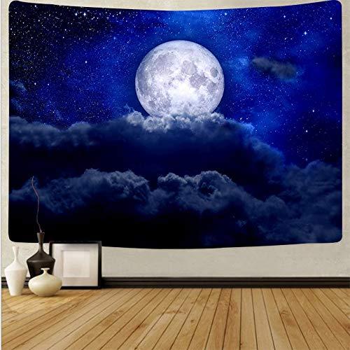 KHKJ Tapiz de Luna Colgante de Pared Paisaje Cielo Azul Tapices psicodélicos Fondo Tela de Pared Alfombra Alfombra Decoración de Cama A12 200x150cm