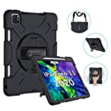 GROLEOA iPad Pro 11 Case 2020/2018 with Pencil Holder Support Charging, 360 Rotating Heavy Duty Rugged...