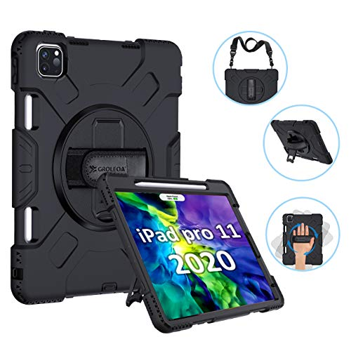 GROLEOA iPad Pro 11 Case 2020/2018 with Pencil Holder Support Charging, 360 Rotating Heavy Duty Rugged Protective Shockproof Cover Stand Hand Strap Shoulder Strap for iPad Pro11 2Nd Gen Case Black