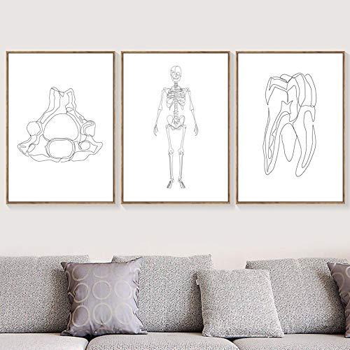 Lijn Tekening Menselijke Anatomie Hersenen Skelet Wall Art Nordic Canvas Schilderij Posters en Prints Foto Muur Woonkamer Decoratie 50X70cm Frameloze