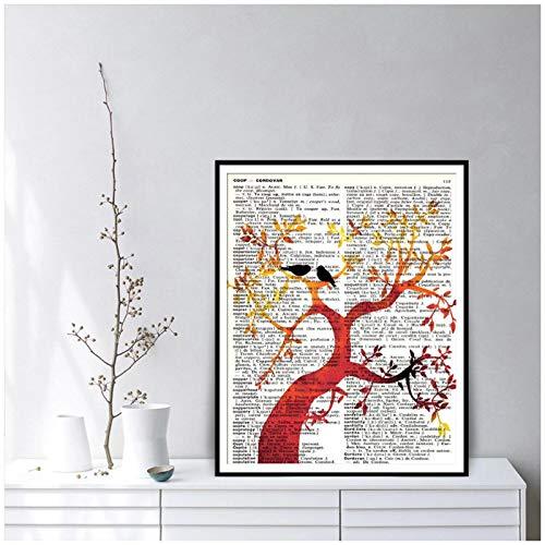 ZQXXX Summer Love Tree Vintage English to French Dictionary Póster de arte abstracto e impresiones de imágenes para la decoración de la sala de estar-50x70cm Sin marco