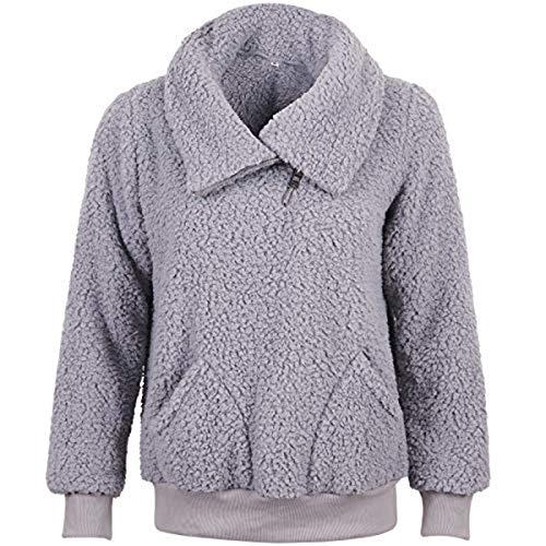 XYJD Frauen Fluffy Pullover Baggy für Winter Damen Fleece Langarm Soft Tops Teddy Fleece Warm mit Taschen Pullover Sweatshirt