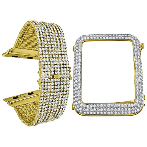 Compatible with Apple Watch Series # 4 Bezel Simulated Diamond 14K Gold Finish 44mm Custom Bracelet Band Combo Set (Yellow Gold with White CZ)