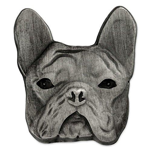 PinMart Silver 3D French Bulldog Breed Dog Lover Lapel Pin