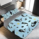 Juego de funda de edredón de 3 piezas de microfibra azul con diseño de algas de sirena, ultra suave con cierre de cremallera y lazos de esquina para hombres, mujeres, niños y adolescentes